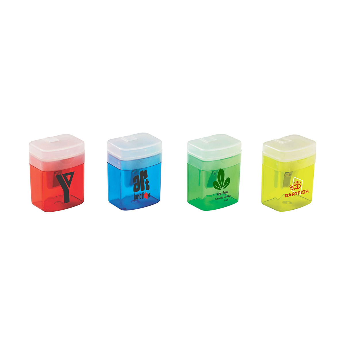 Translucent Pencil Sharpener with Flip-Top Lids