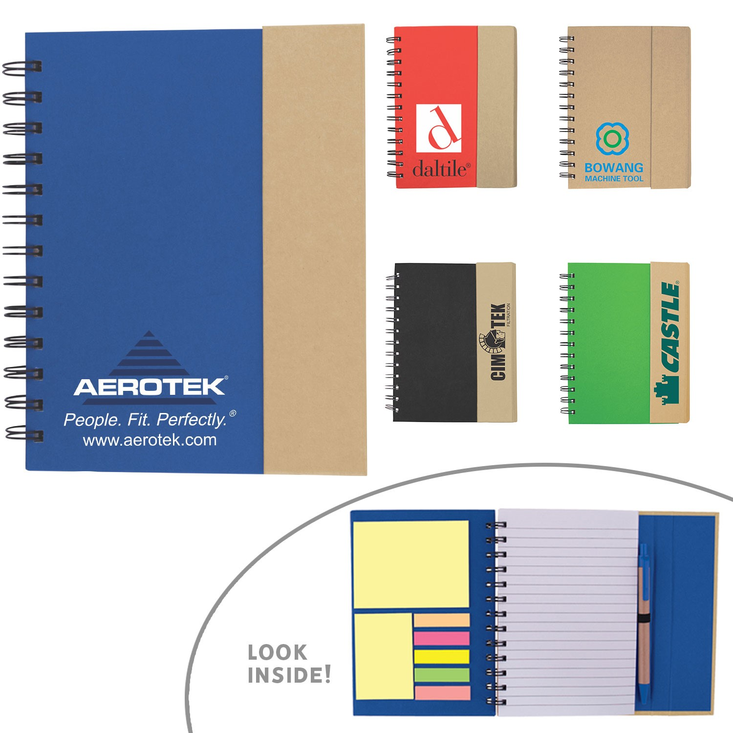Eco-Recycled Journal with Sticky Notes, Flags and Pen