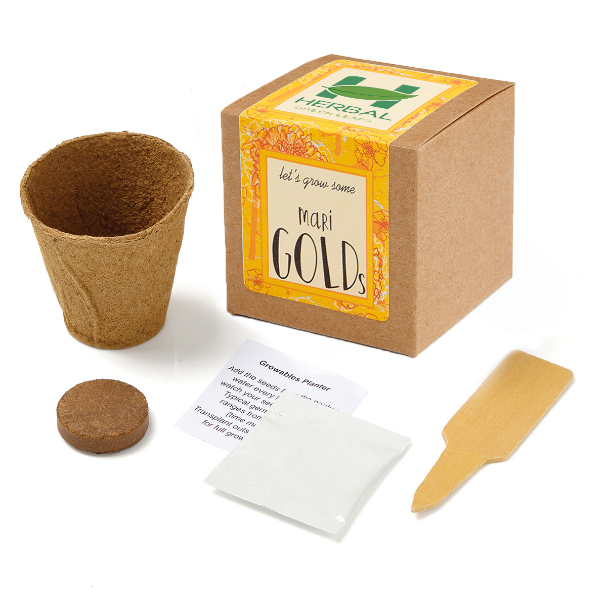 Marigold Growables Planter in Kraft Gift Box