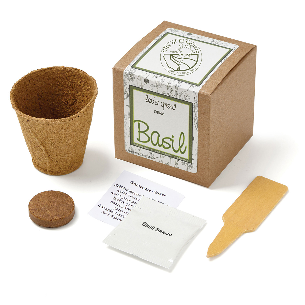 Basil Planter in Kraft Gift Box