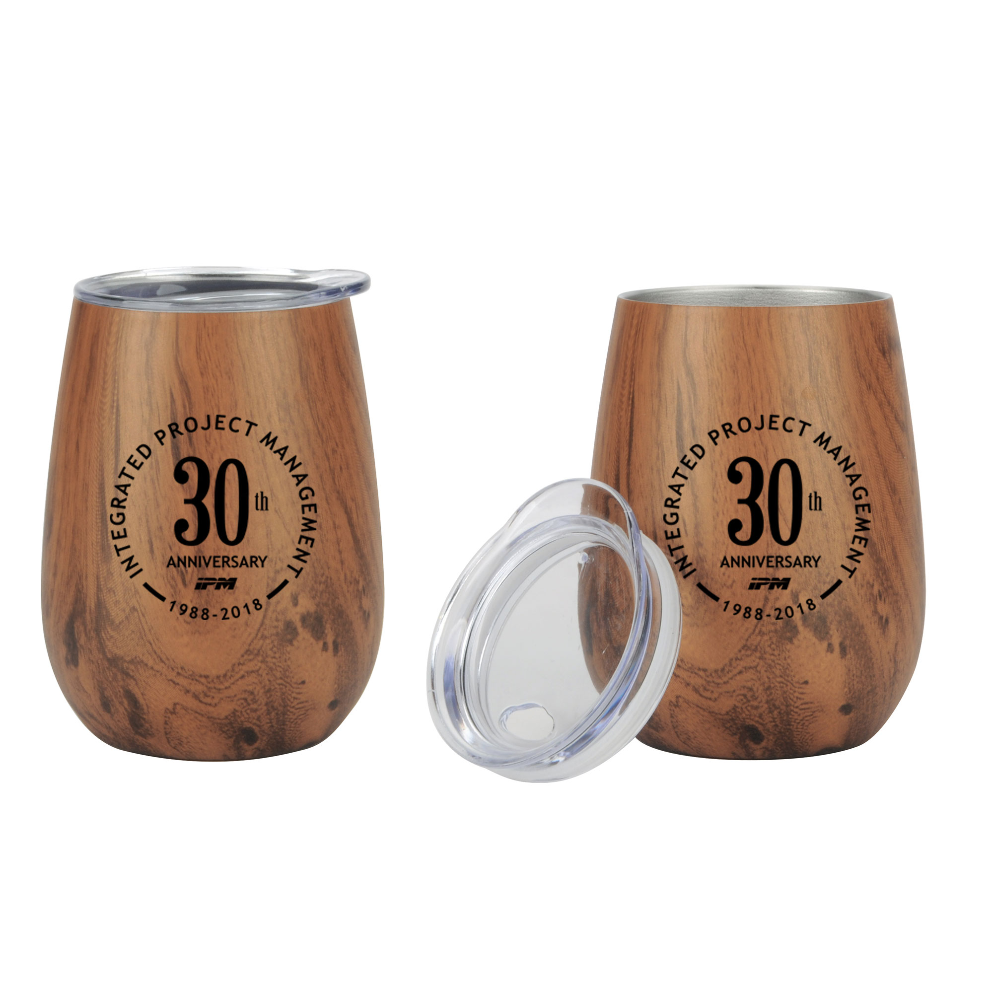 10 oz. Stainless Steel Lined Vacuum Wood Wine Tumbler