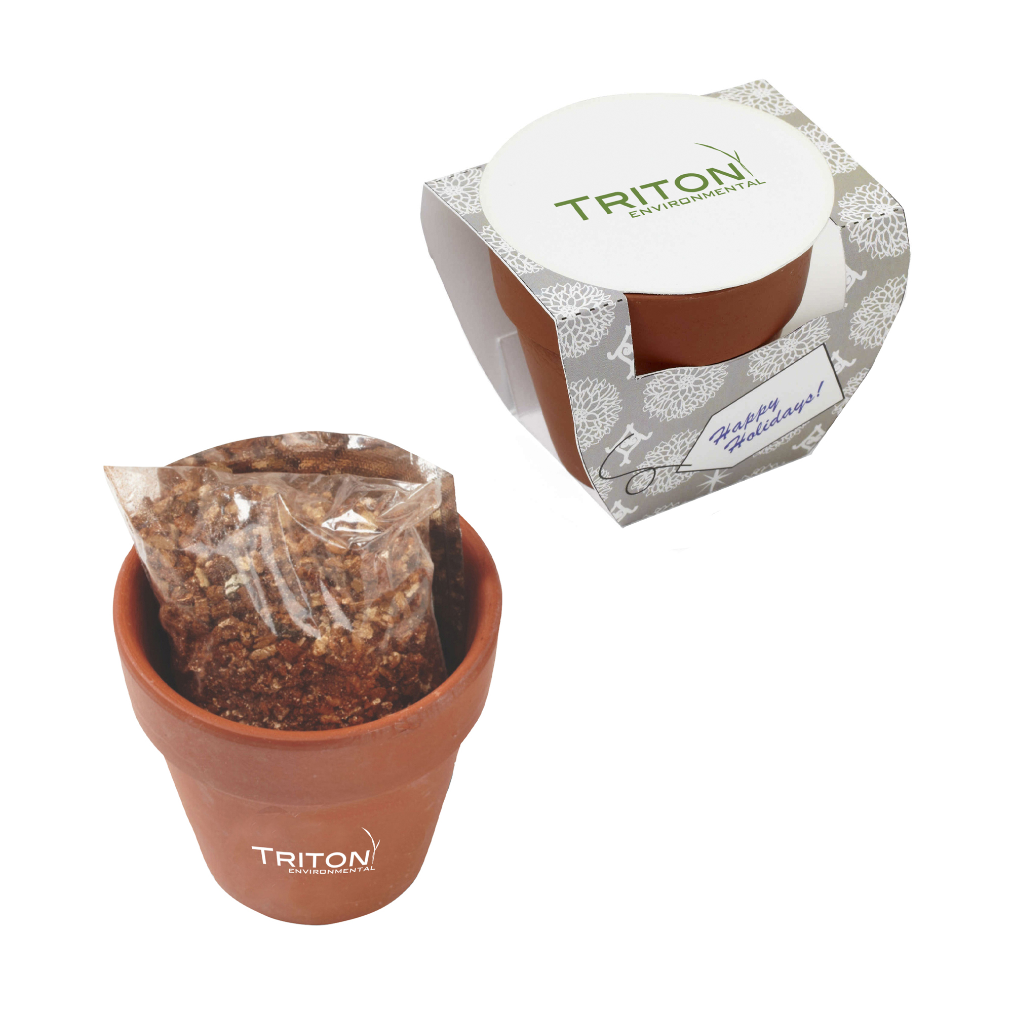 Seed Sensations Terracotta Pot With Holiday Wrapper