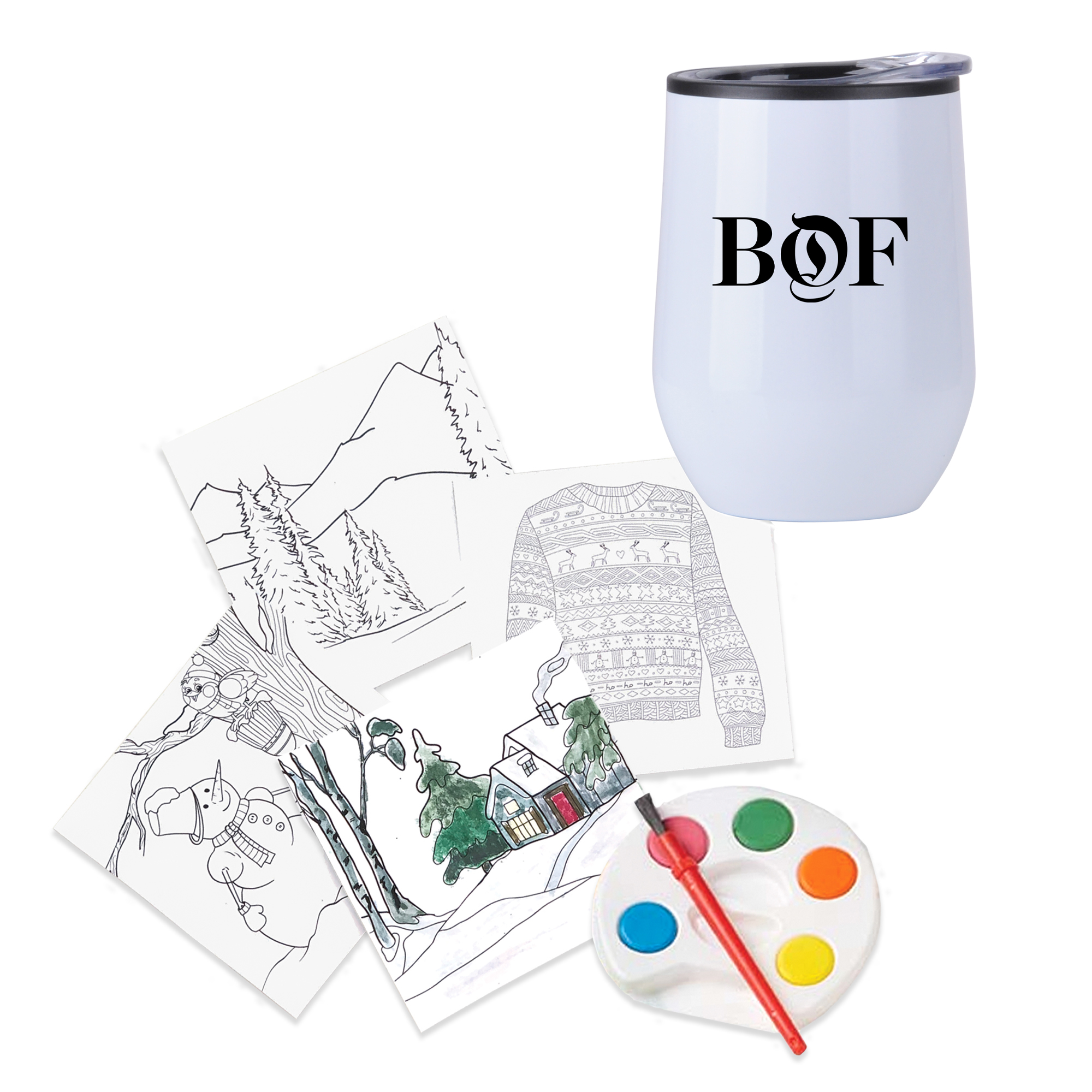 Holiday Adult Paint Set and Wine Tumbler